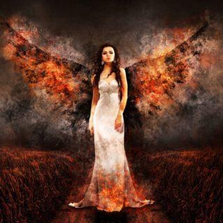 羽の生えた魔女が白いドレスを着ている